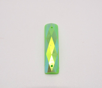50 Pieces - 7 x 26 mm Rectangle Stone AB Finish  Lime Green
