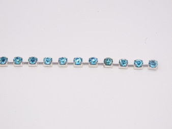 Rhinestone Trim -  Ice Blue/Silver Single 4mm Trim - Per Yard