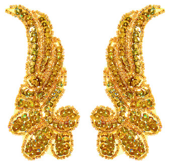 4.5x11cm Sequin Bead  Wing Motiff - Gold Pair