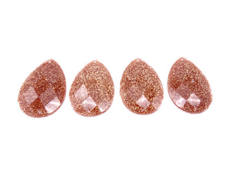 10 Pieces - 24 x 40 mm Teardrop Stone - Glitter DK Gold