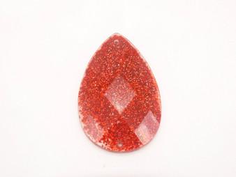 10 Pieces - 24 x 40 mm Tear Drop Stone - Glitter Red