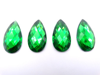 50 Pieces - 16 x 30 mm Teardrop Stone - Green