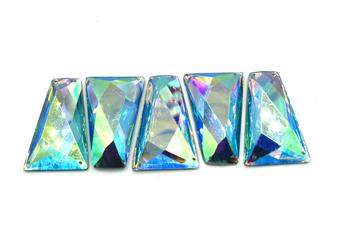 10 Pieces - 25x43 mm Trapezoid Stone - Light Blue AB