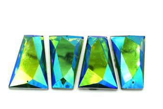 10 Pieces - 25x43 mm Trapezoid Stone - Turquoise AB