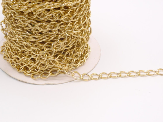 8x11mm Aluminum Chain Gold  - Per Yard