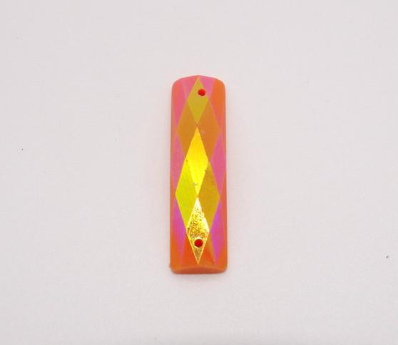 20 Pieces - 7 x 26 mm Rectangle Stone AB Finish Orange