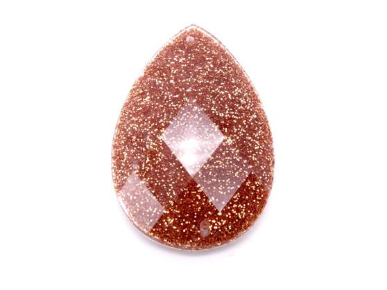 20 Pieces - 24 x 40 mm Teardrop Stone - Glitter DK Gold