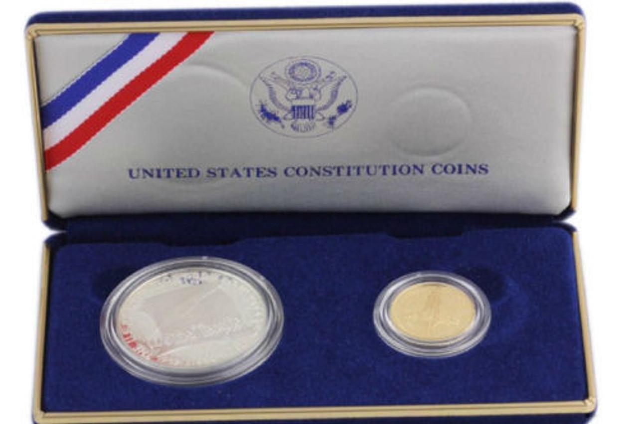 1987 SILVER DOLLAR U.S CONSTITUTION COIN W// ORIGINAL BOX /& COA