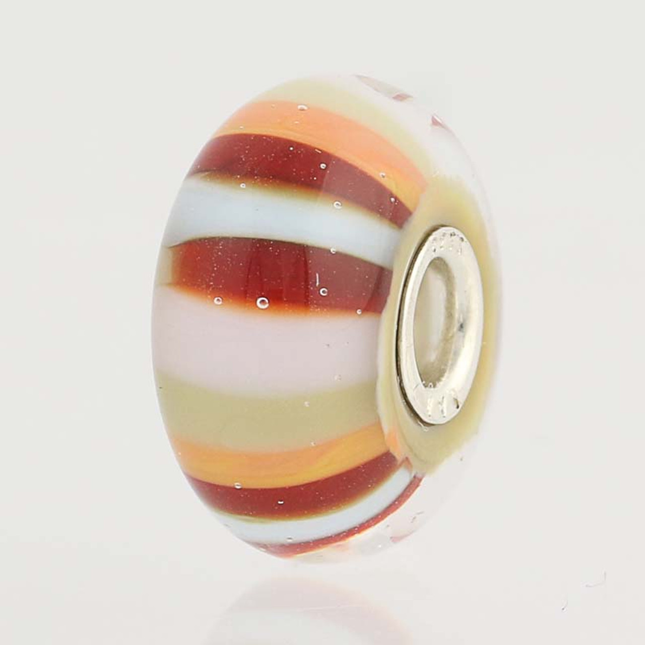 Green Striped Murano Glass Bead Charm Black Bow Jewelry Sterling Silver