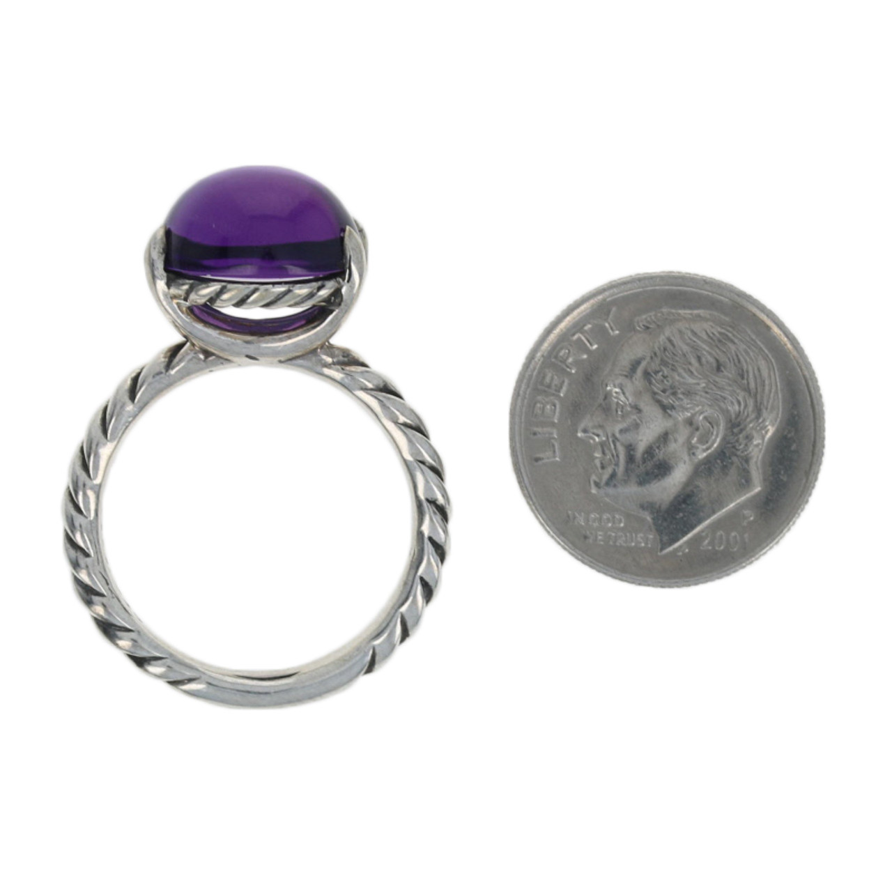 Cabochon Amethyst 925 Sterling Silver Victorian Swirl Bypass Ring SZ 7