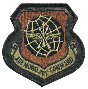 AMC Leather Patch - Multicam OCP Air Mobility Command With Black Border With Hook Backing