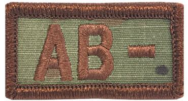 Multicam OCP Blood Type Patch AB Negative With Hook Backing & Spice Brown Embroidery