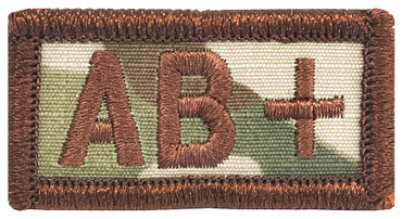 Multicam OCP Blood Type Patch AB Positive With Hook Backing & Spice Brown Embroidery