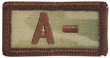 Multicam OCP Blood Type Patch A Negative With Hook Backing & Spice Brown Embroidery