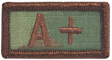 Multicam OCP Blood Type Patch A Positive With Hook Backing & Spice Brown Embroidery