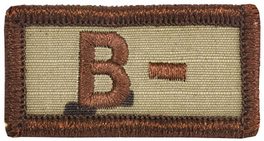 Multicam OCP Blood Type Patch B Negative With Hook Backing & Spice Brown Embroidery