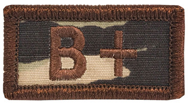 Multicam OCP Blood Type Patch B Positive With Hook Backing & Spice Brown Embroidery