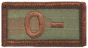 Multicam OCP Blood Type Patch O Negative With Hook Backing & Spice Brown Embroidery