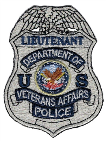 Silver VA Police Badge Patch - Lieutenant