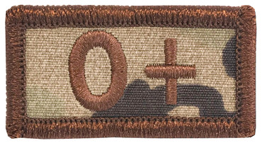 Multicam OCP Blood Type Patch O Positive With Hook Backing & Spice Brown Embroidery