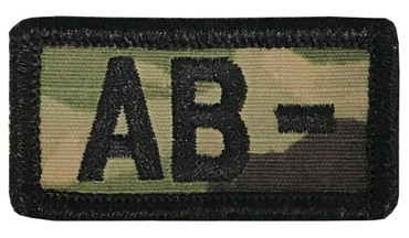 Multicam OCP Blood Type Patch AB Negative With Hook Backing & Black Embroidery