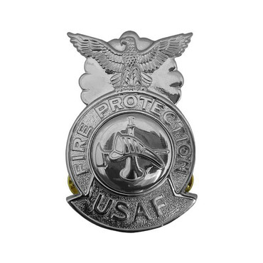 Firefighter Large Chrome Badge (Silver Center)