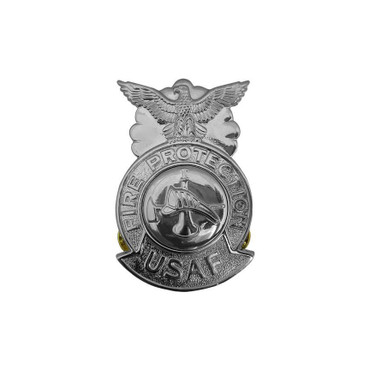 Firefighter Small Chrome Badge (Silver Center)