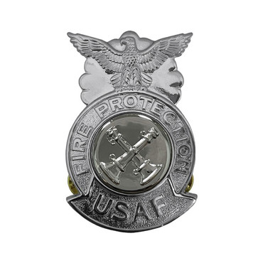 2-Bugle Crossed Large Chrome Badge (Silver Center)