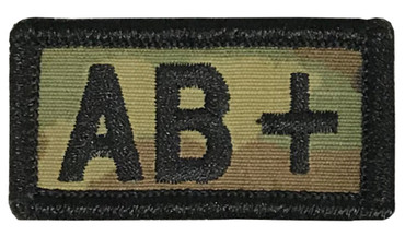 Multicam OCP Blood Type Patch AB Positive With Hook Backing & Black Embroidery