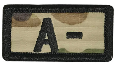Multicam OCP Blood Type Patch A Negative With Hook Backing & Black Embroidery