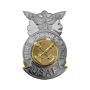 2-Bugle Crossed Large Chrome Badge (Gold Center)