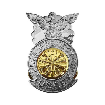 Chief Large Chrome Badge (Gold Center)