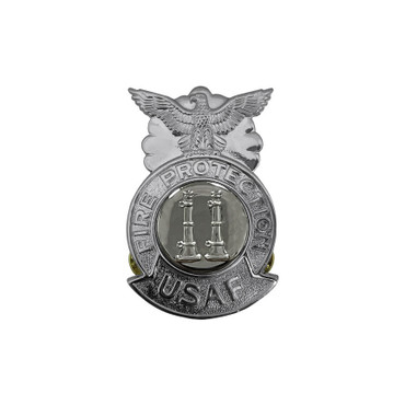 2-Bugle Parallel Small Chrome Badge (Silver Center)