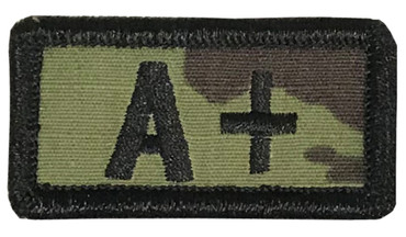 Multicam OCP Blood Type Patch A Positive With Hook Backing & Black Embroidery