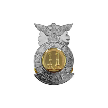 2-Bugle Parallel Small Chrome Badge (Gold Center)