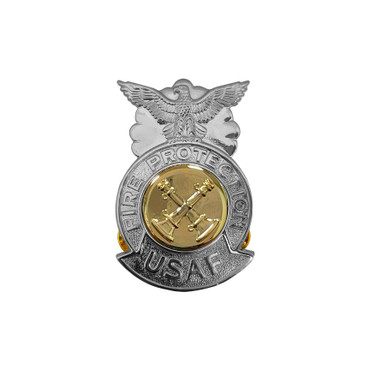 2-Bugle Crossed Small Chrome Badge (Gold Center)