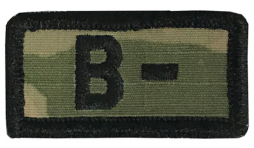 Multicam OCP Blood Type Patch B Negative With Hook Backing & Black Embroidery