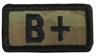 Multicam OCP Blood Type Patch B Positive With Hook Backing & Black Embroidery