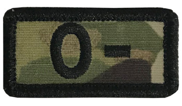 Multicam OCP Blood Type Patch O Negative With Hook Backing & Black Embroidery