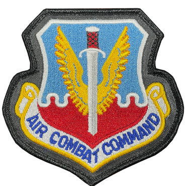Full Color ACC Air Combat Command Patch With Hook Backing With Leather Border