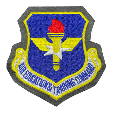 Full Color AETC Air Education And Training Command Patch With Hook Backing With Leather Border