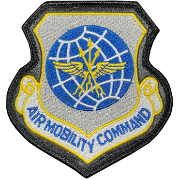 Full Color AMC Air Mobility Command Patch With Hook Backing With Leather
