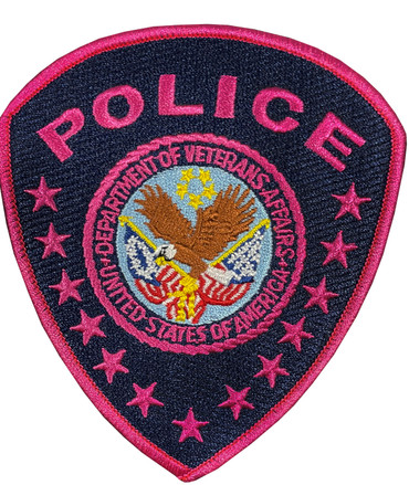 Blue/Pink VA Police Shoulder Patch for Breast Cancer Awareness