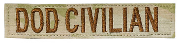 DOD CIVILIAN Name Tape - Multicam OCP With Hook Backing (Spice Brown Letters)