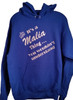 White words with silver glitter name on royal blue hoodie