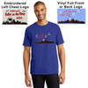 Shown on royal blue shirt with red, black and white design.