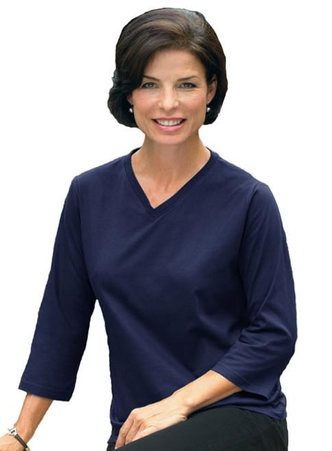 Jersey V-Neck 3/4 Sleeve Shirt SUN3577