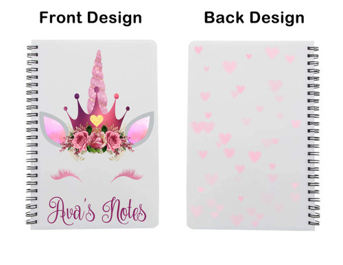 Shown with the Pink Unicorn design and pink hearts on back cover.