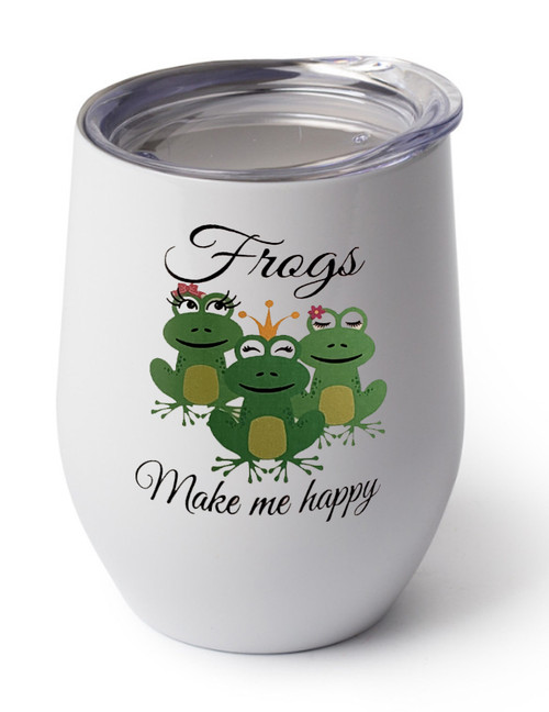 Frogs design on white cup
