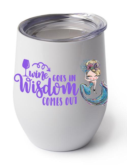Wine Wisdom design on the white cup